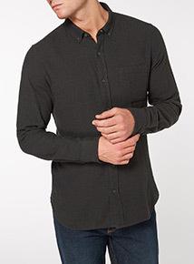 Dark Green Twill Slim Fit Shirt