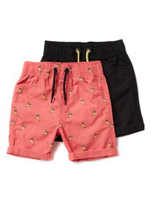 2 Pack Multicoloured Banana Print Shorts (9 months-6 years)