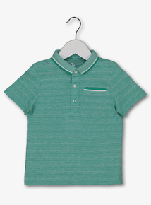 Green Textured Stripe Polo Shirt 9 Months