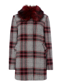 Tartan Fur Collar Coat