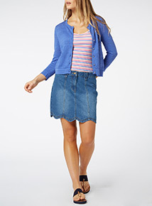 Blue Pointelle Crop Cardigan