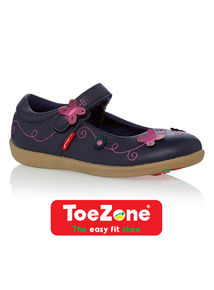 Girls Purple Leather ToeZone Shoes