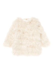 Girls Cream Fur Longerline Coat (3-12 years)