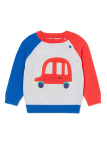Blue Knitted Car Jumper (0-24 months)