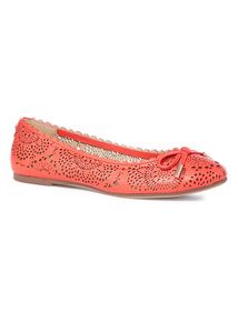 Red Laser Cut Out Ballerina Pumps