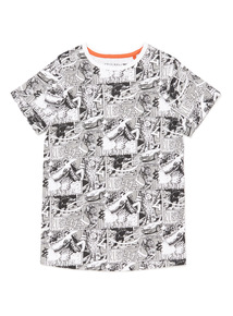 White And Black Comic Strip Print T-Shirt (3-14 years)