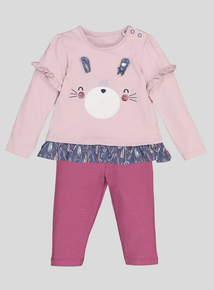 Multicoloured Bunny Jersey Top & Leggings Set (0-24 Months)