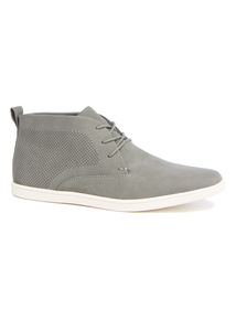Grey Perforated Panel High Top Shoes