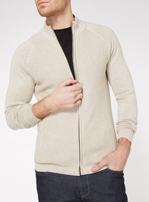 Stone Waffle Stitch Funnel Neck Jumper