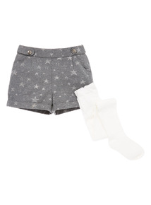 Grey Jacquard Shorts and Tights (9 months-6 years)