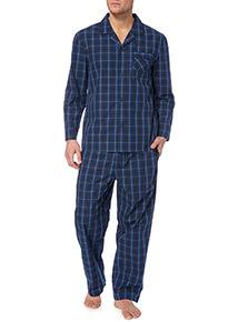 Navy Poplin Check Pyjamas