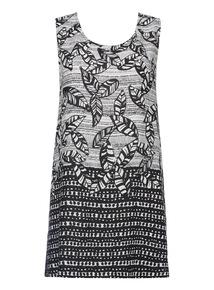 Monochrome Pattern Tunic Dress