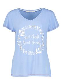 Blue Woodland Slogan Pyjama Top