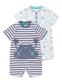 2 Pack Multicoloured Printed Rompers (0-24 months)