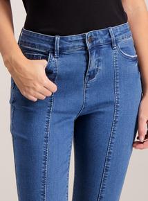 Blue Denim Split Hem Skinny Jeans