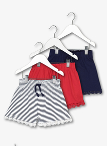 Multicoloured Wide Leg Lace Trimmed Shorts 3 Pack (3-14 Years)