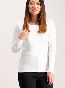 PETITE Online Exclusive White Long Sleeve T-Shirt