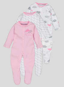 Pink Clouds 3 Pack Sleepsuits (Newborn-24 months)