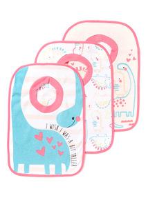 3 Pack Pink Dinosaur Popover Bibs