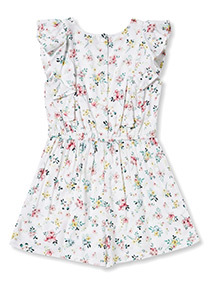 White Floral Playsuit (3-14 years)