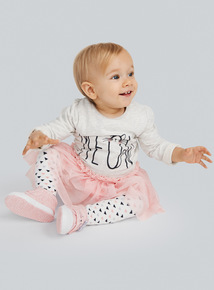 Grey Meow Sweat Net Dress and Tights Set (0-24 months)