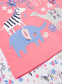 Pink 'Hello Cutie' Animal Print Pyjamas (0-24 months)