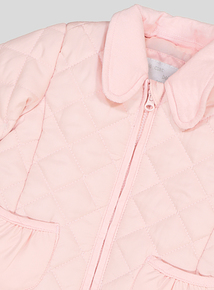 Pink Quilted Long-Sleeved Jacket  (0-24 months)