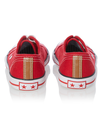 Boys Red Lace Up Canvas Trainers