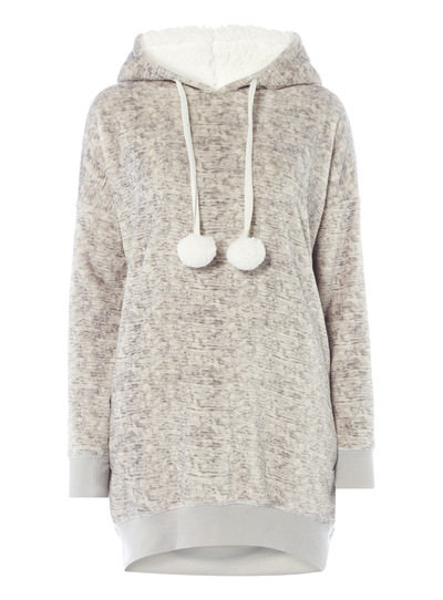 Womens Fluffy Hoody With Poms Tu Clothing