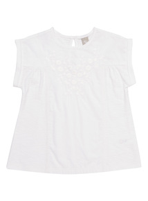 Girls White Embroidered Top (3 - 12 years)