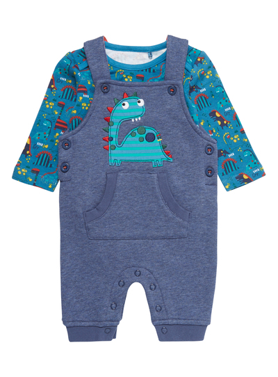 25785636bc42 Baby Boys Blue Dino Dungarees Set (0-24 months)