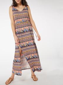 Multicoloured Jersey Print Maxi Dress