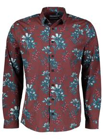 Burgundy Regular Fit Floral Print Shirt
