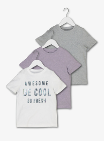 Multicoloured 'Be Cool' T-Shirts 3 Pack (3-14 Years)