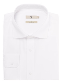 White Tailored Fit Shirt with Cutaway Collar