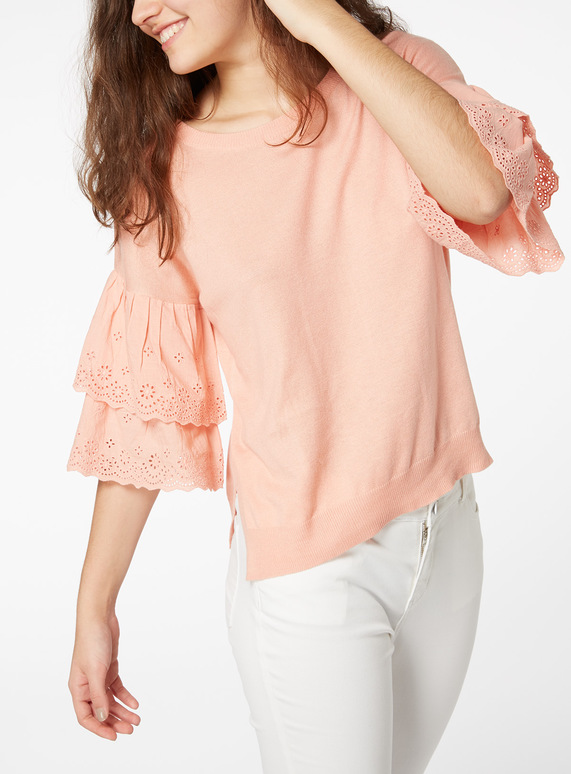 Broderie Anglaise Sleeve Top