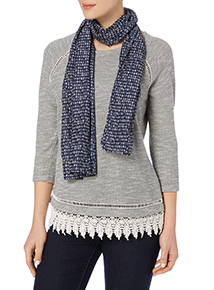 Grey Embroidered Top With Scarf