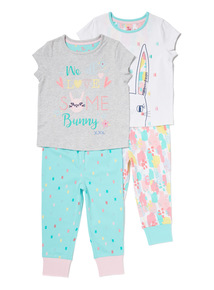 2 Pack Multicoloured Bunny Pyjama Set