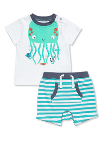 2 Piece Multicoloured Octopus T-shirt and Shorts Set (0-24 months)