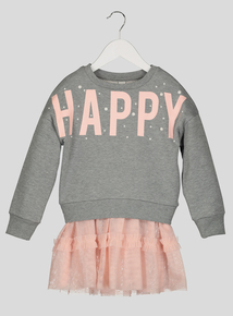 Multicoloured 'Happy' Sweater Dress (3-14 years)