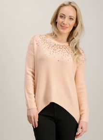 Online Exclusive PETITE Pink Knitted Sequinned Jumper