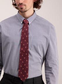 Online Exclusive Burgundy Robin Print Tie