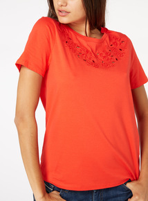 Red Crochet Detail T-Shirt