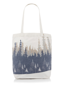 Multicoloured Canvas Scenic Print Tote Bag