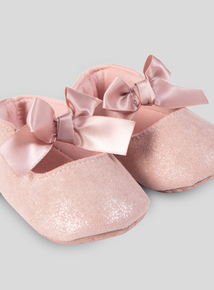 Bronze Bow Party Shoes (0- 18 Months)