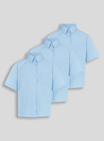 Blue Woven Non Iron School Blouses 3 Pack (3 -16 years)