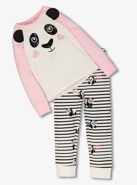 0ce1b7c3c494 Kids Pink and White Panda Pyjamas (2 - 12 Years)