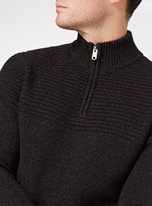 Charcoal Half-Zip Knit Jumper
