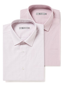 2 Pack Tailored Fit Easy Iron Shirts