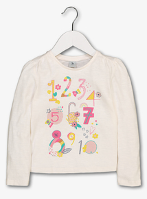 Cream Glitter Numbers Jersey Top (9 Months - 6 Years)